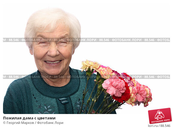 Пожилая дама с цветами, фото № 88546, снято 28 января 2007 г. (c) Георгий Марков / Фотобанк Лори