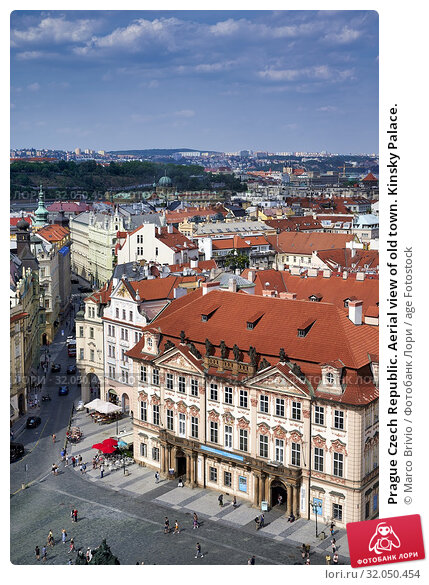 Prague Czech Republic. Aerial view of old town. Kinsky Palace. Стоковое фото, фотограф Marco Brivio / age Fotostock / Фотобанк Лори