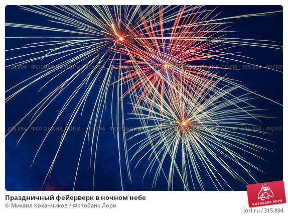 Купить «Праздничный фейерверк в ночном небе», фото № 315894, снято 30 мая 2008 г. (c) Михаил Коханчиков / Фотобанк Лори