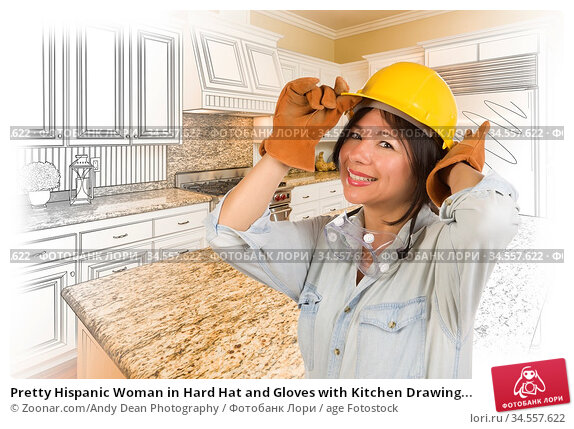 Pretty Hispanic Woman in Hard Hat and Gloves with Kitchen Drawing... Стоковое фото, фотограф Zoonar.com/Andy Dean Photography / age Fotostock / Фотобанк Лори