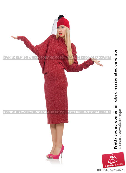 Купить «Pretty young woman in ruby dress isolated on white», фото № 7259878, снято 17 декабря 2014 г. (c) Elnur / Фотобанк Лори