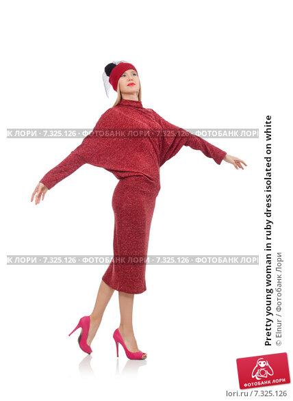 Купить «Pretty young woman in ruby dress isolated on white», фото № 7325126, снято 17 декабря 2014 г. (c) Elnur / Фотобанк Лори