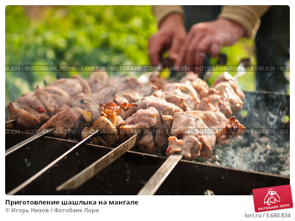 Купить «Приготовление шашлыка на мангале», эксклюзивное фото № 3680834, снято 3 июня 2012 г. (c) Игорь Низов / Фотобанк Лори