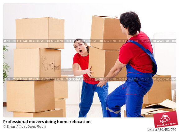Professional movers doing home relocation. Стоковое фото, фотограф Elnur / Фотобанк Лори