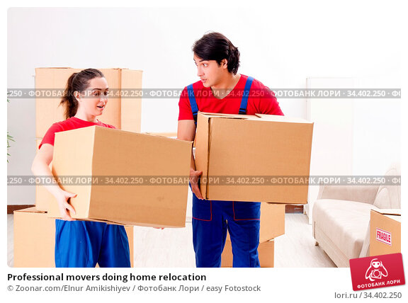 Professional movers doing home relocation. Стоковое фото, фотограф Zoonar.com/Elnur Amikishiyev / easy Fotostock / Фотобанк Лори