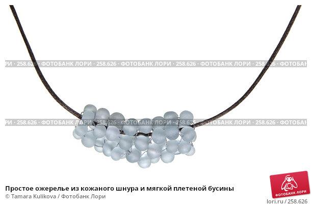 Простое ожерелье из кожаного шнура и мягкой плетеной бусины, фото № 258626, снято 21 апреля 2008 г. (c) Tamara Kulikova / Фотобанк Лори