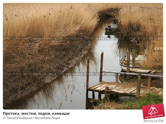 Протока, мостки, лодки, камыши, фото № 4714, снято 15 апреля 2006 г. (c) Tamara Kulikova / Фотобанк Лори
