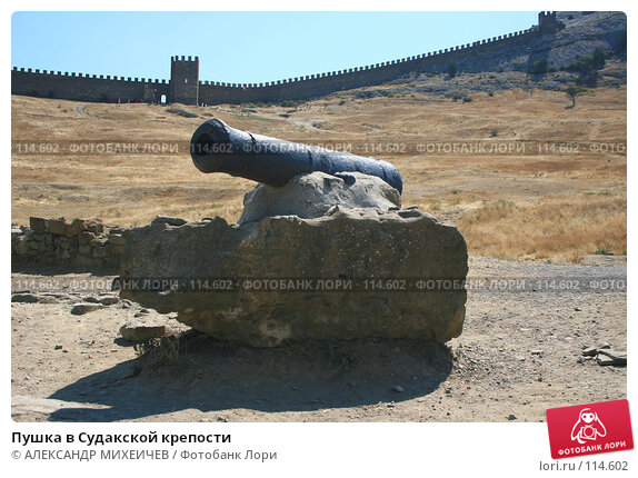 Пушка в Судакской крепости, фото № 114602, снято 22 августа 2007 г. (c) АЛЕКСАНДР МИХЕИЧЕВ / Фотобанк Лори