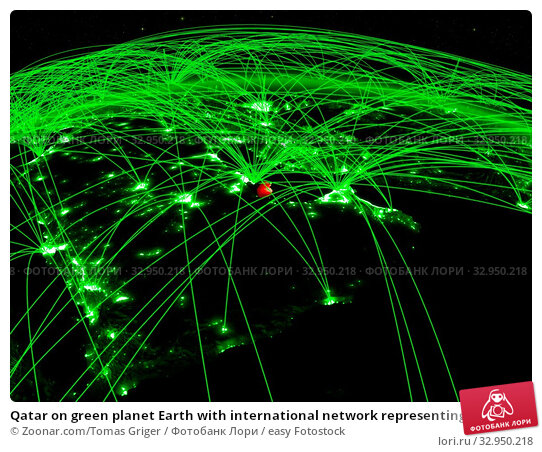 Qatar on green planet Earth with international network representing communication, travel and connections. 3D illustration. Elements of this image furnished by NASA. Стоковое фото, фотограф Zoonar.com/Tomas Griger / easy Fotostock / Фотобанк Лори