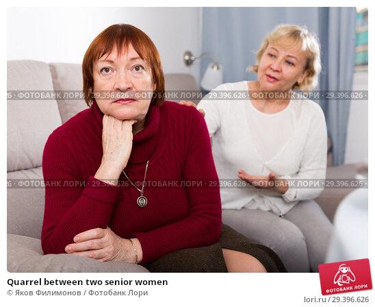 Купить «Quarrel between two senior women», фото № 29396626, снято 22 ноября 2017 г. (c) Яков Филимонов / Фотобанк Лори