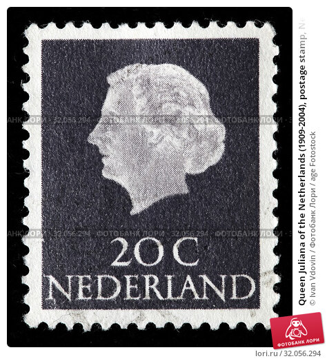 Queen Juliana of the Netherlands (1909-2004), postage stamp, Netherlands, 1968. (2010 год). Редакционное фото, фотограф Ivan Vdovin / age Fotostock / Фотобанк Лори