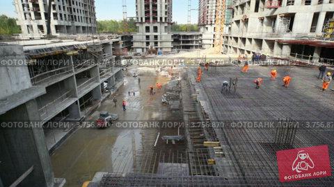 Купить «Работы на строительной площадке», видеоролик № 3756870, снято 27 августа 2011 г. (c) Losevsky Pavel / Фотобанк Лори