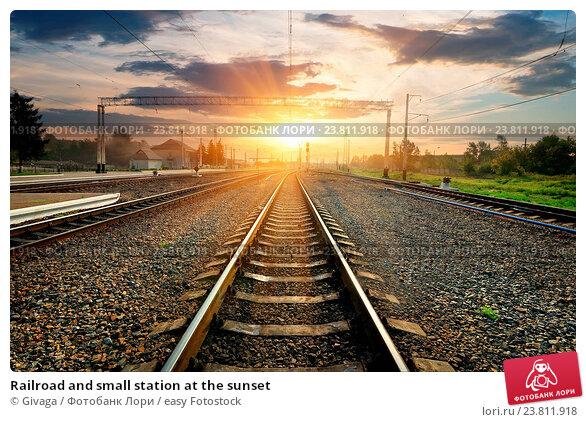 Купить «Railroad and small station at the sunset», фото № 23811918, снято 13 августа 2013 г. (c) easy Fotostock / Фотобанк Лори