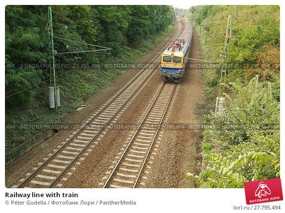 Купить «Railway line with train», фото № 27795494, снято 20 октября 2018 г. (c) PantherMedia / Фотобанк Лори