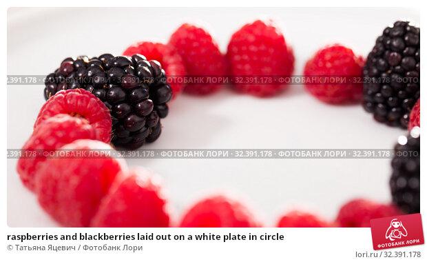 Купить «raspberries and blackberries laid out on a white plate in circle», фото № 32391178, снято 2 июня 2019 г. (c) Татьяна Яцевич / Фотобанк Лори
