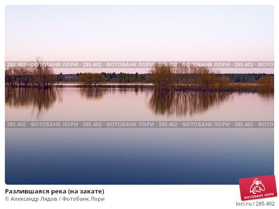 Разлившаяся река (на закате), фото № 285402, снято 10 мая 2008 г. (c) Александр Лядов / Фотобанк Лори