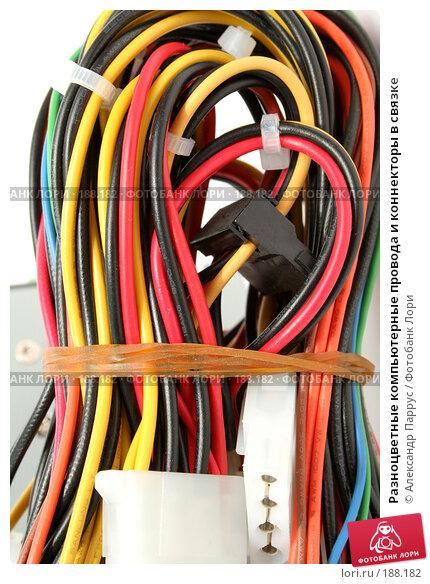 Купить «Разноцветные компьютерные провода и коннекторы в связке», фото № 188182, снято 16 мая 2007 г. (c) Александр Паррус / Фотобанк Лори