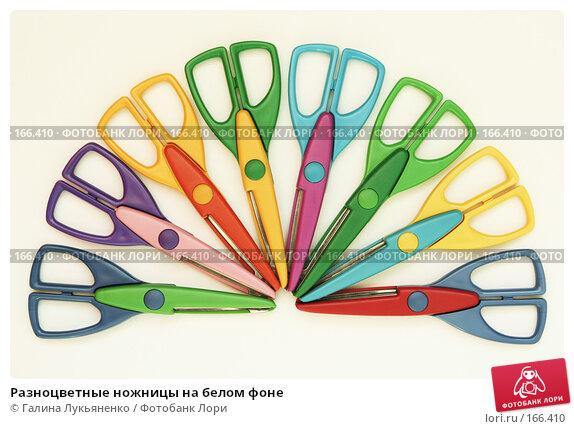 Разноцветные ножницы на белом фоне, фото № 166410, снято 25 марта 2017 г. (c) Галина Лукьяненко / Фотобанк Лори