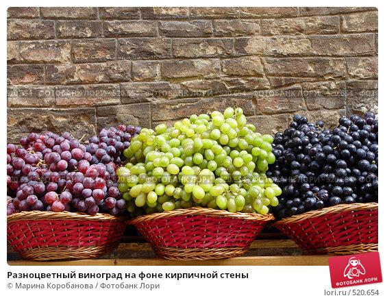 Купить «Разноцветный виноград на фоне кирпичной стены», фото № 520654, снято 1 июня 2004 г. (c) Марина Коробанова / Фотобанк Лори