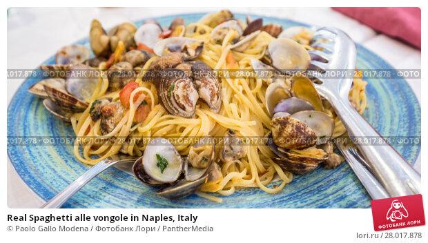 Купить «Real Spaghetti alle vongole in Naples, Italy», фото № 28017878, снято 26 апреля 2019 г. (c) PantherMedia / Фотобанк Лори