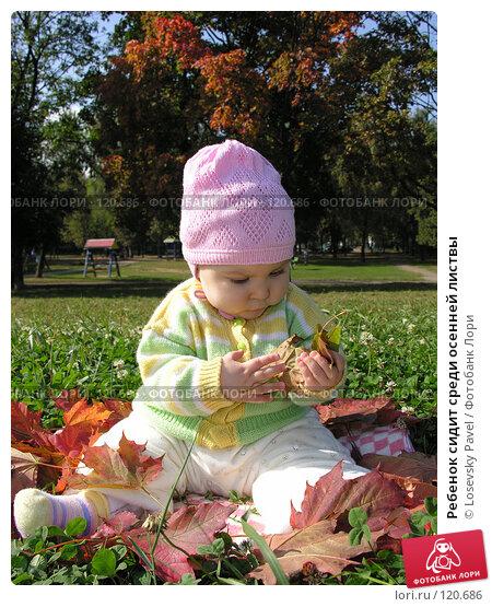 Ребенок сидит среди осенней листвы, фото № 120686, снято 7 сентября 2005 г. (c) Losevsky Pavel / Фотобанк Лори