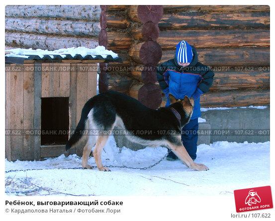 Ребёнок, выговаривающий собаке, фото № 107622, снято 18 марта 2007 г. (c) Кардаполова Наталья / Фотобанк Лори