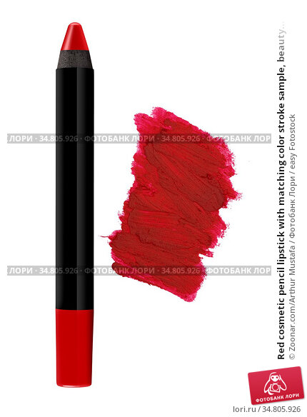 Red cosmetic pencil lipstick with matching color stroke sample, beauty... Стоковое фото, фотограф Zoonar.com/Arthur Mustafa / easy Fotostock / Фотобанк Лори