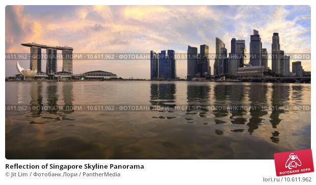 Reflection of Singapore Skyline Panorama. Стоковое фото, фотограф Jit Lim / PantherMedia / Фотобанк Лори
