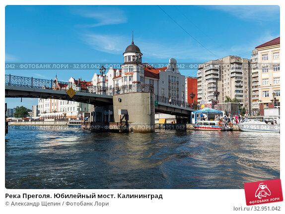Река Преголя. Юбилейный мост. Калининград (2018 год). Редакционное фото, фотограф Александр Щепин / Фотобанк Лори