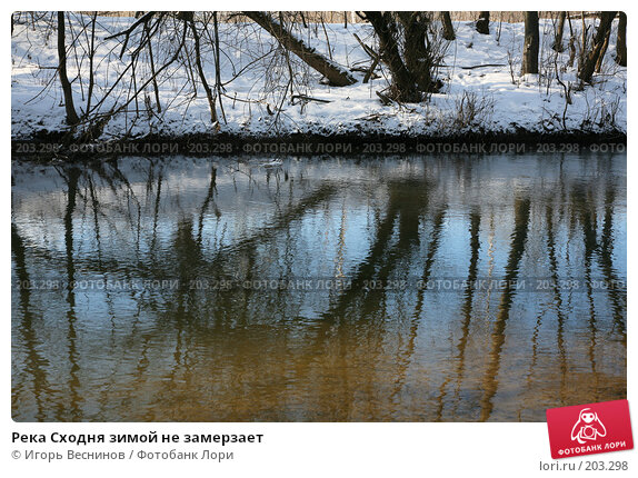 Река Сходня зимой не замерзает, фото № 203298, снято 16 февраля 2008 г. (c) Игорь Веснинов / Фотобанк Лори