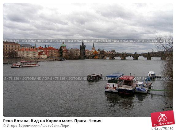 Река Влтава. Вид на Карлов мост. Прага. Чехия., фото № 75130, снято 18 января 2007 г. (c) Игорь Ворончихин / Фотобанк Лори