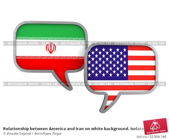 Relationship between America and Iran on white background. Isolated 3D illustration. Стоковая иллюстрация, иллюстратор Ильин Сергей / Фотобанк Лори