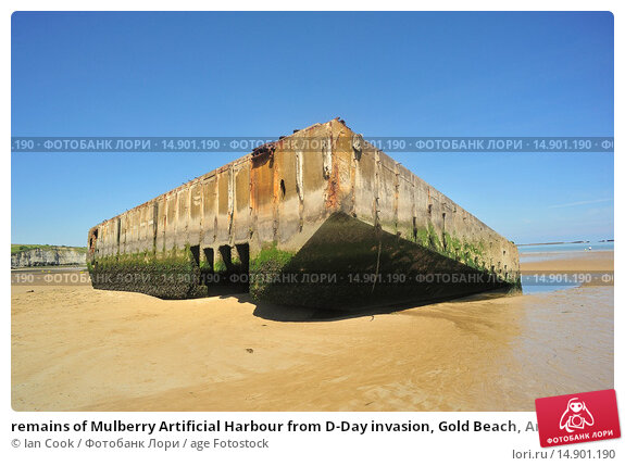 Купить «remains of Mulberry Artificial Harbour from D-Day invasion, Gold Beach, Arromanches-les-Bains, Calvados Department, Normandy, France.», фото № 14901190, снято 19 июня 2018 г. (c) age Fotostock / Фотобанк Лори