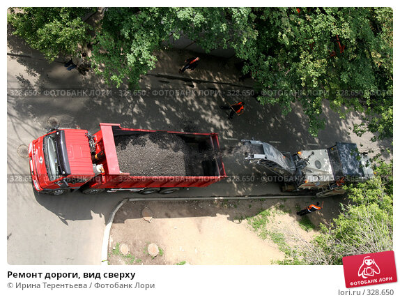 Ремонт дороги, вид сверху, эксклюзивное фото № 328650, снято 20 июня 2008 г. (c) Ирина Терентьева / Фотобанк Лори
