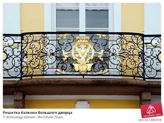Решетка балкона Большого дворца, эксклюзивное фото № 200618, снято 27 января 2008 г. (c) Александр Щепин / Фотобанк Лори