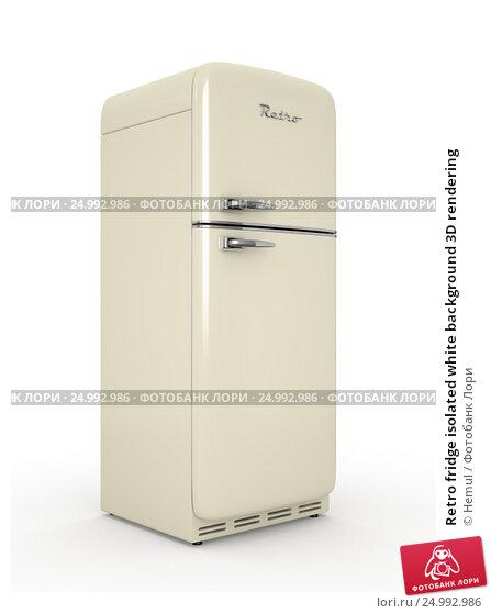 Купить «Retro fridge isolated white background 3D rendering», иллюстрация № 24992986 (c) Hemul / Фотобанк Лори