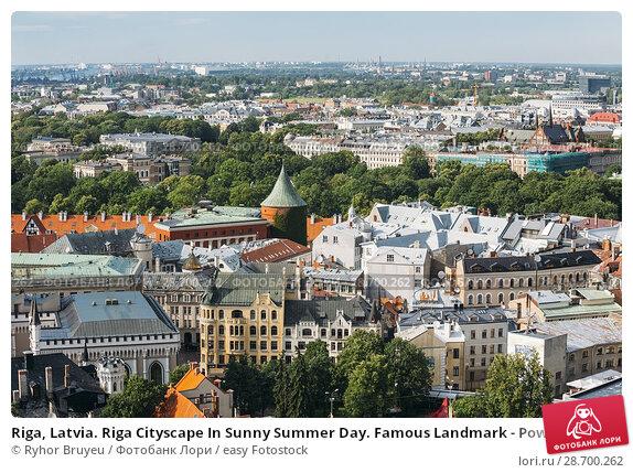Купить «Riga, Latvia. Riga Cityscape In Sunny Summer Day. Famous Landmark - Powder Tower Now Part Of Latvian War Museum.», фото № 28700262, снято 1 июля 2016 г. (c) easy Fotostock / Фотобанк Лори