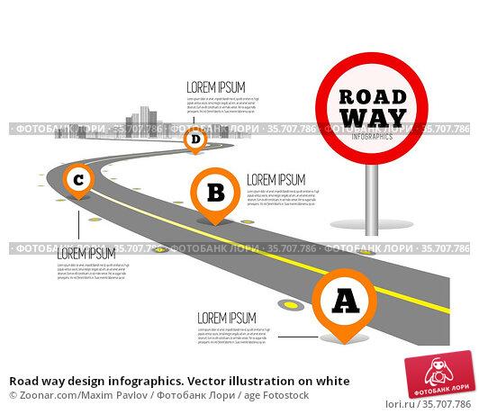 Road way design infographics. Vector illustration on white. Стоковое фото, фотограф Zoonar.com/Maxim Pavlov / age Fotostock / Фотобанк Лори