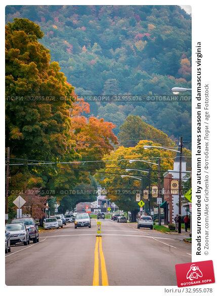 Roads surrounded by autumn leaves season in damascus virginia. Стоковое фото, фотограф Zoonar.com/Alex Grichenko / age Fotostock / Фотобанк Лори