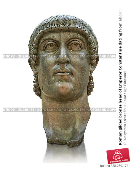 Купить «Roman gilded bronze head of Emperor Constantine dating from about 330-337 AD.Inv 5. 13, The Capitoline Museums, Rome.», фото № 28250174, снято 18 января 2019 г. (c) age Fotostock / Фотобанк Лори