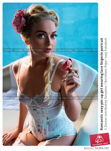 Romantic sexy pin up girl wearing lace lingerie portrait. Стоковое фото, фотограф Zoonar.com/Andrey Guryanov / easy Fotostock / Фотобанк Лори
