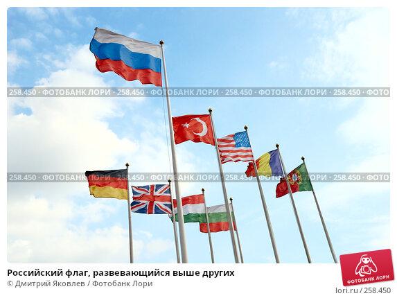 Российский флаг, развевающийся выше других, фото № 258450, снято 10 апреля 2008 г. (c) Дмитрий Яковлев / Фотобанк Лори