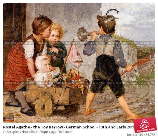 Rostel Agathe - the Toy Barrow - German School - 19th and Early 20th... Стоковое фото, фотограф Artepics / age Fotostock / Фотобанк Лори