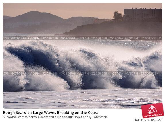 Rough Sea with Large Waves Breaking on the Coast. Стоковое фото, фотограф Zoonar.com/alberto giacomazzi / easy Fotostock / Фотобанк Лори