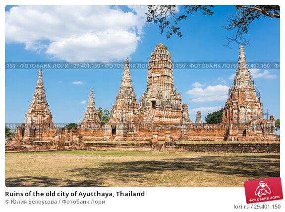 Купить «Ruins of the old city of Ayutthaya, Thailand», фото № 29401150, снято 27 января 2017 г. (c) Юлия Белоусова / Фотобанк Лори