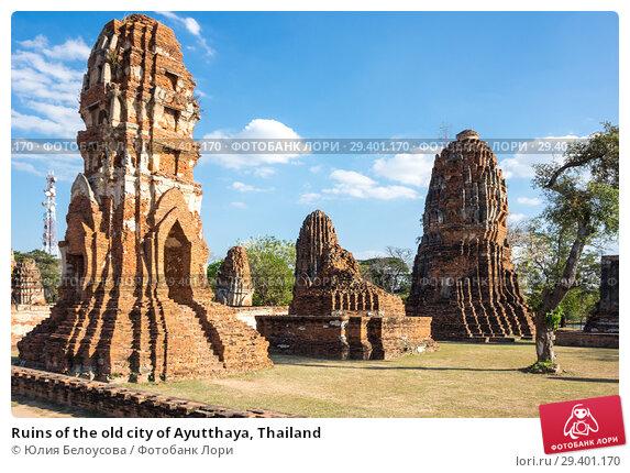 Купить «Ruins of the old city of Ayutthaya, Thailand», фото № 29401170, снято 27 января 2017 г. (c) Юлия Белоусова / Фотобанк Лори