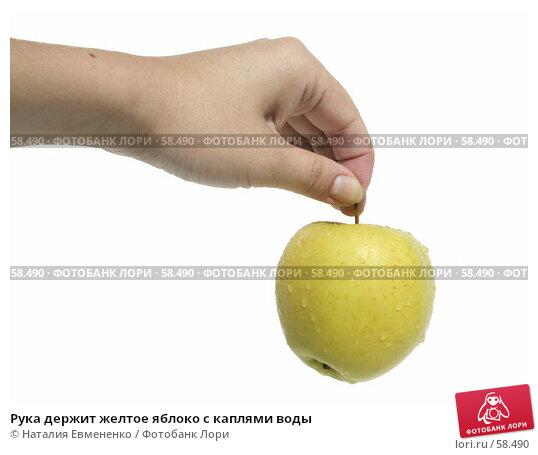 Рука держит желтое яблоко с каплями воды, фото № 58490, снято 3 июля 2007 г. (c) Наталия Евмененко / Фотобанк Лори