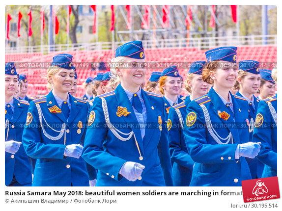 Купить «Russia Samara May 2018: beautiful women soldiers are marching in formation.», фото № 30195514, снято 5 мая 2018 г. (c) Акиньшин Владимир / Фотобанк Лори