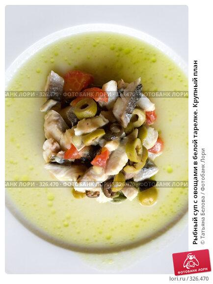 Рыбный суп с овощами в белой тарелке. Крупный план, фото № 326470, снято 13 июня 2008 г. (c) Татьяна Белова / Фотобанк Лори