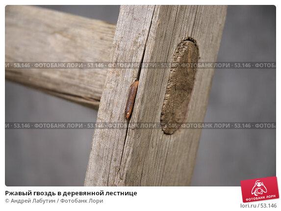 Ржавый гвоздь в деревянной лестнице, фото № 53146, снято 16 июня 2007 г. (c) Андрей Лабутин / Фотобанк Лори